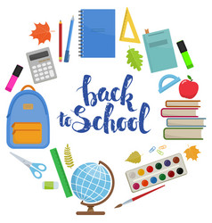 back to school circle shape template vector image vector image