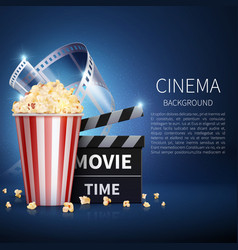 cinema 3d movie background with popcorn and vector image