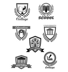 college or university and school icons set vector image vector image