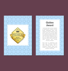 golden label with text on vector image