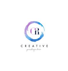 gr letter logo circular purple splash brush vector image vector image