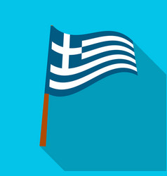 greek flag icon in flat style isolated on white vector image