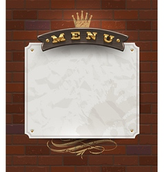 Menu wooden signboard and paper banner vector image vector image
