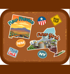 new mexico new york travel stickers vector image