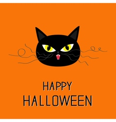 Black cat head yellow eyes fangs curl moustaches vector