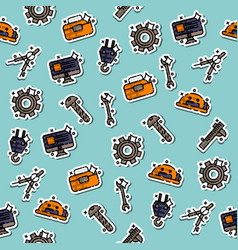 engineering flat concept icons pattern vector image