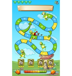 Game template with frogs in field background vector image