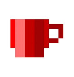 pixel cup of coffee tea cartoon retro game style vector image vector image