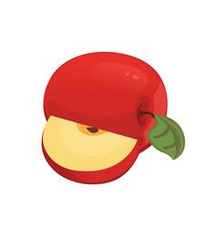 red apple bitten slices half whole fruit vector image