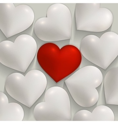 Romantic white and red hearts valentines vector image vector image