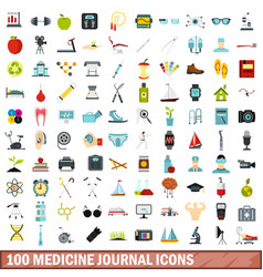 100 medicine journal icons set flat style vector image vector image
