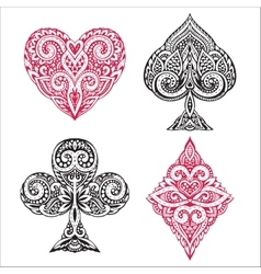 Black and red playing card ornamental vector image
