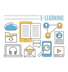 E-learning Online education vector image vector image