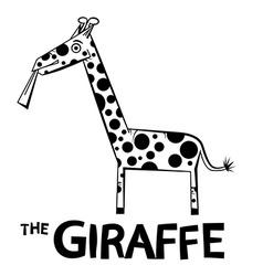 Giraffe - Outline Animal Isolated on White vector image