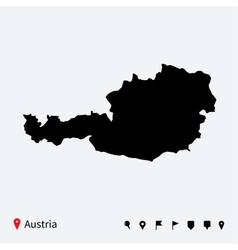 High detailed map of Austria with navigation pins vector image
