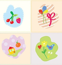 Baby cards set - cut design vector image