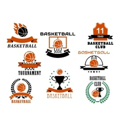 Basketball game emblems and symbols vector image