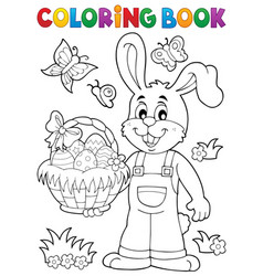 coloring book easter rabbit theme 7 vector image