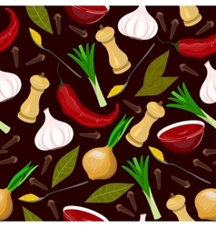 Seamless condiments and spices vector image vector image