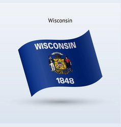 state of wisconsin flag waving form vector image