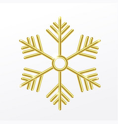 3d golden snowflake isolated on white background vector image