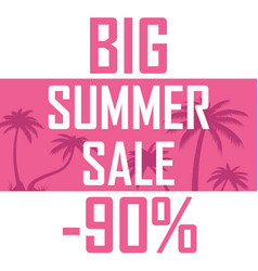 A big summer sale palms on a pink background with vector