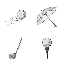 A flying ball a yellow umbrella a golf club a vector