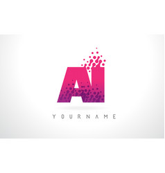 Ai a i letter logo with pink purple color and vector