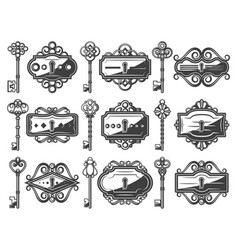 antique metal keyholes set vector image