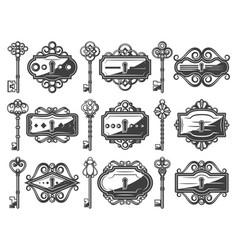 Antique metal keyholes set vector