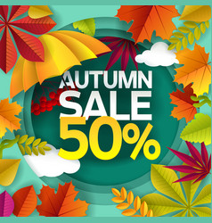 autumn sale paper cut poster banner vector image