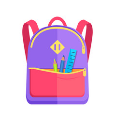 Backpack for child with school stationery vector