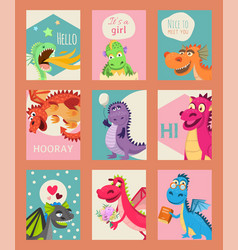 badragons set birthday or invitation cards vector image