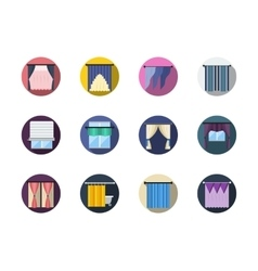 Blinds and curtains color round flat icons vector image
