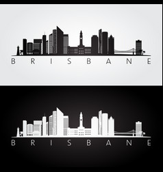Brisbane skyline and landmarks silhouette vector