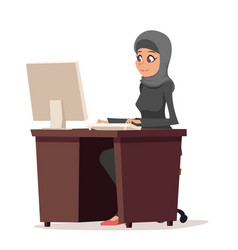 Business woman character arab cute traditional vector