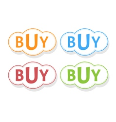 Buy word in bubble icons vector