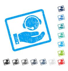 Call center service icon rubber watermark vector