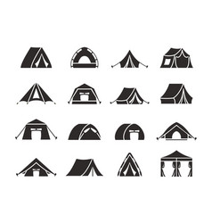 camping tent silhouette set tourist tent with a vector image