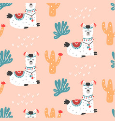 Cartoon llama alpaca seamless repeat pattern vector