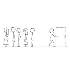 Cartoon of waiting in line or queue or looking vector