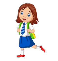cartoon school girl in uniform posing vector image