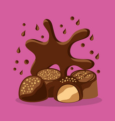 chocolate candy with chips cream filling vector image