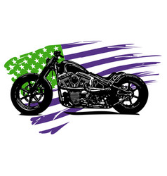 Chopper motorcycle with american flag vector