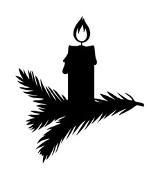 Christmas candle on a fir branch vector