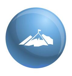 Climb mountain flag icon simple style vector