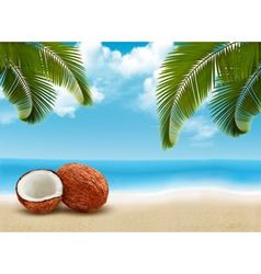 Coconut with palm leaves Summer vacation vector