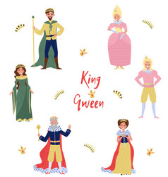 Collection of fairytale characters kingqueen vector