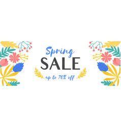 colorful spring sale banner with floral elements vector image