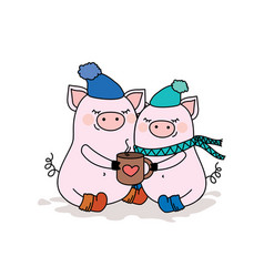 Couple of pigs in lovetwo cute animals in hats vector